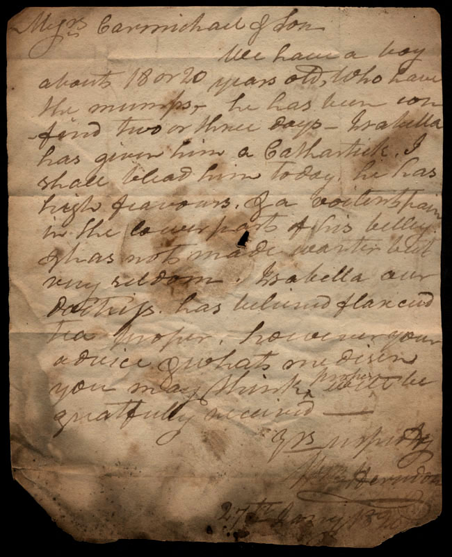 Box1/1819_1820Carmichael_Correspondence/1820Jan27_Herndon/recto