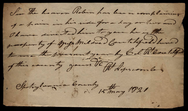 Box1/1819_1820Carmichael_Correspondence/1820May15_Lipscomb/recto