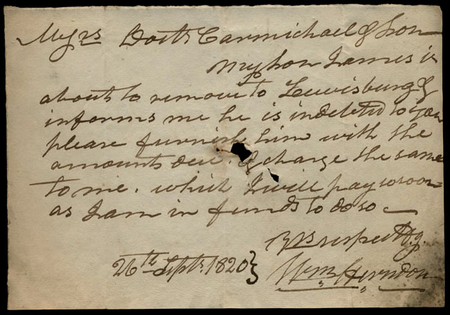 Box1/1819_1820Carmichael_Correspondence/1820Sep26/recto