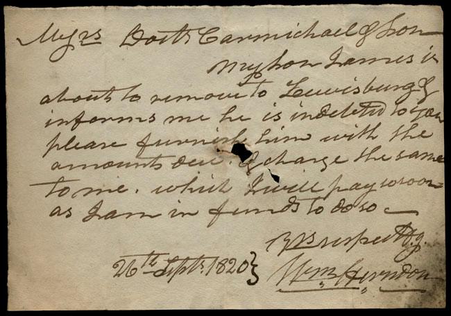 Box1/1819_1820Carmichael_Correspondence/1820Sep26/recto