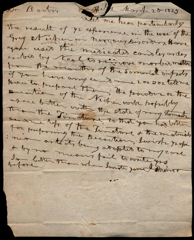 Box1/1823Jan_MayCarmichael_Correspondence/1823Mar20_Minor/recto