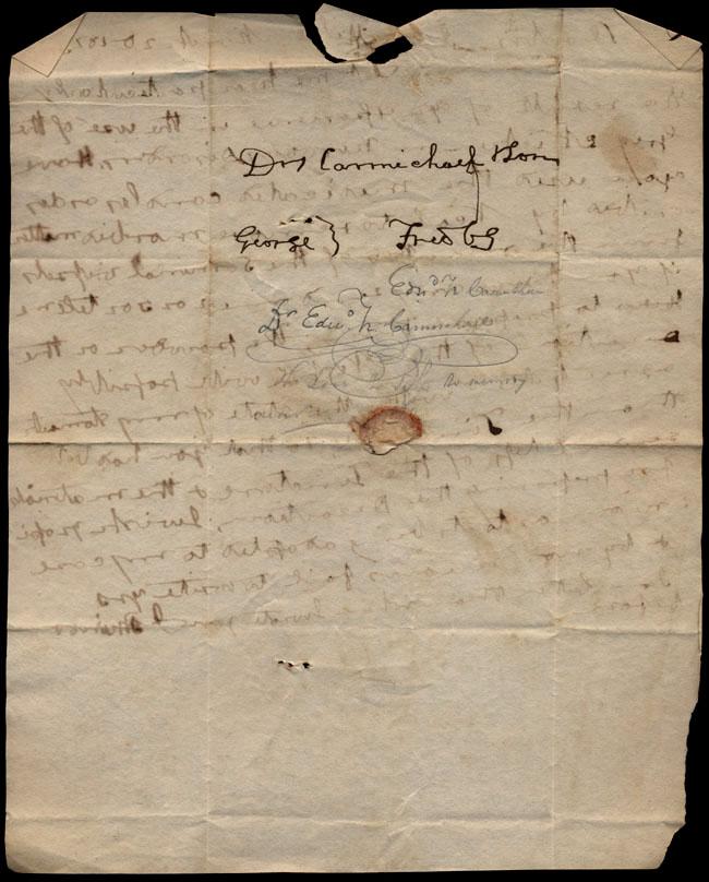 Box1/1823Jan_MayCarmichael_Correspondence/1823Mar20_Minor/verso