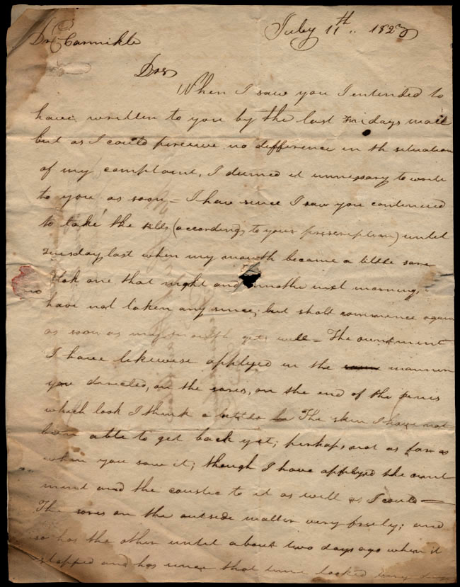 Box1/1823Jun_DecCarmichael_Correspondence/1823Jul11/pg1