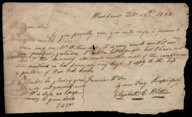 Box2/1826Carmichael_Correspondence/1826Feb28_Withers/recto
