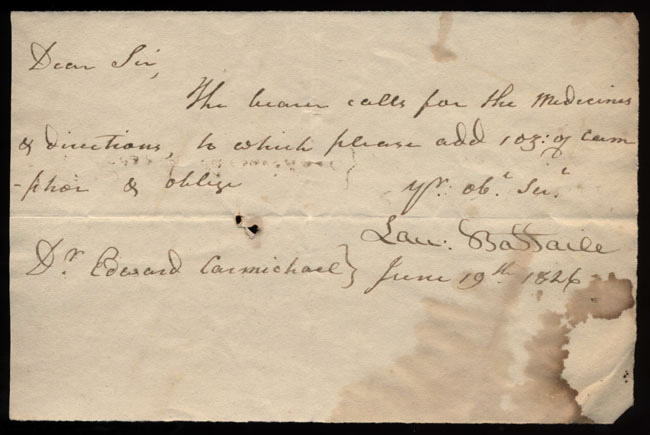 Box2/1826Carmichael_Correspondence/1826Jun19_Battaile/recto