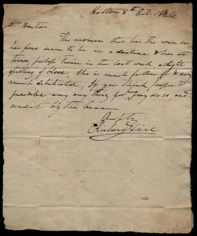 Box2/1826Carmichael_Correspondence/1826Oct08_Hill/recto
