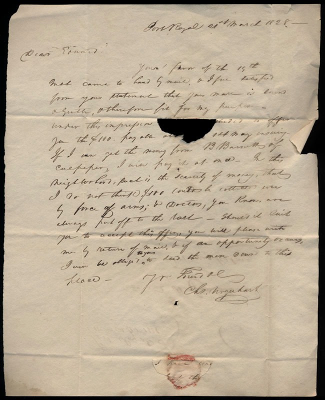 Box2/1828_1830Carmichael_Correspondence/1828Mar21/recto