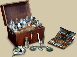 Medicine Chest (c. 1850) and Pocket Pill Case (c. 1820)