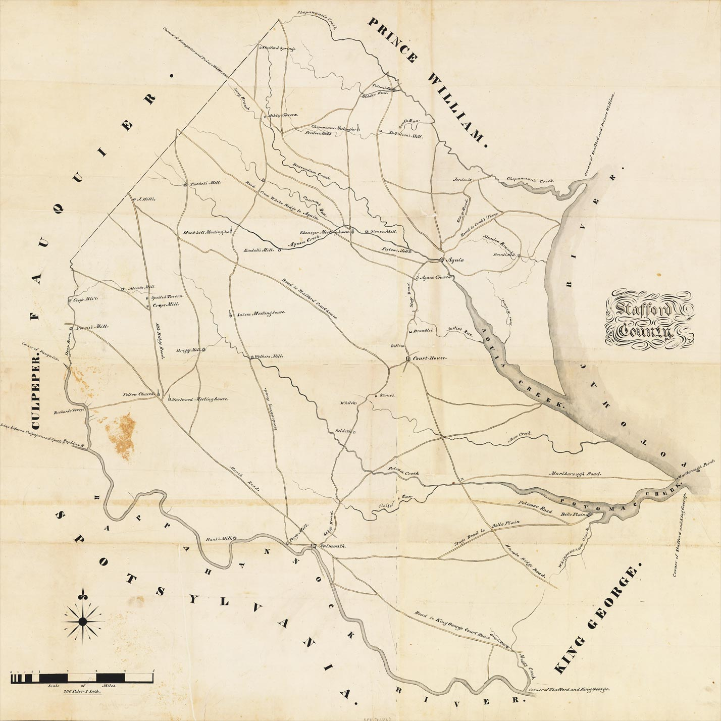 Stafford County Map c.1820